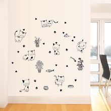 Cute Kitty Sticker Decoration Bathroom Kitchen Childrens Room Living Wall Fridge Magnet Diy Art