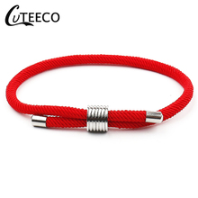 CUTEECO Hot Red Rope Stainless Steel Bracelets For Women Couples Adjustable Handmade Men Lucky Fashion Jewelry