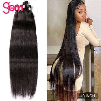 40 Inch Straight Hair 3 Bundles Deal Human Hair 3 / 4 Bundles Gem Beauty Remy Peruvian Hair Bundles image
