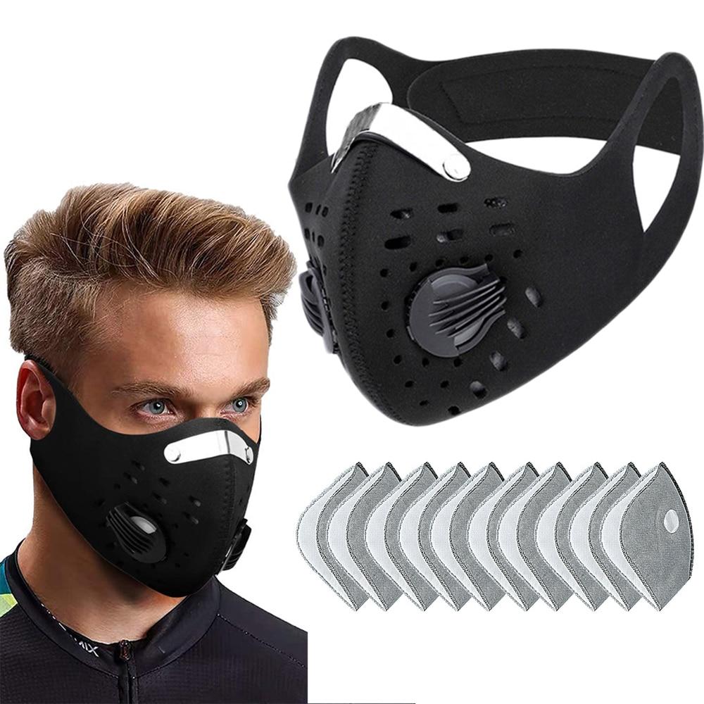 Olahraga Wajah Mask dengan Filter Karbon Aktif PM 2.5 Anti Polusi Pelatihan Berjalan Sungkup Muka MTB ROAD Sepeda Bersepeda Masker d30