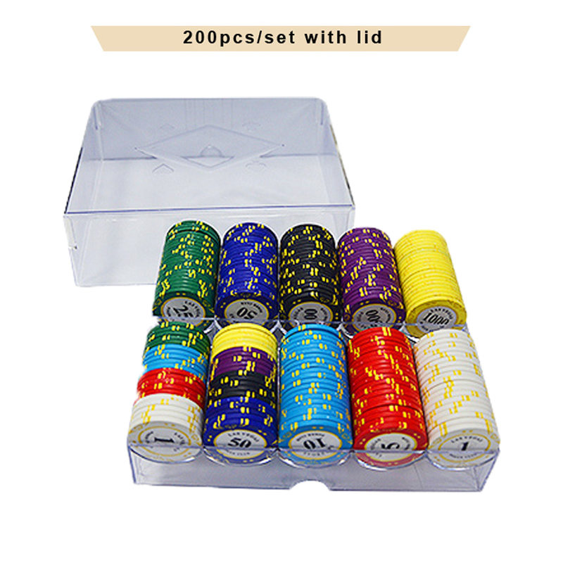 100/200pcs Las Vegas Casino Clay Poker Chips Set Custom Acylic Chip Box Poker Chips Texas Hold'em Dollar Coins Poker <font><b>LasVegas</b></font> image