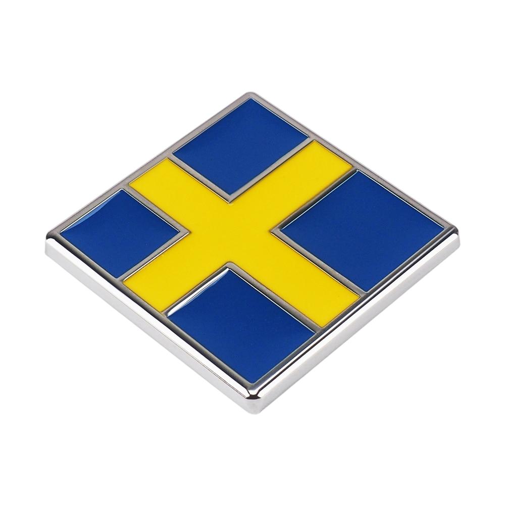 SWEDEN FLAG METAL LICENSE PLATE TAG for cars  SVERIGE  Scandinavian cross