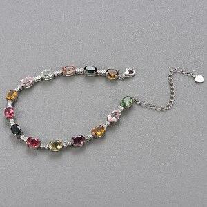 Image 3 - الطبيعية يتوهم اللون التورمالين سوار مع 925 فضة تصميم بسيط غرامة مجوهرات لفتاة لطيفة هدية tbj تعزيز