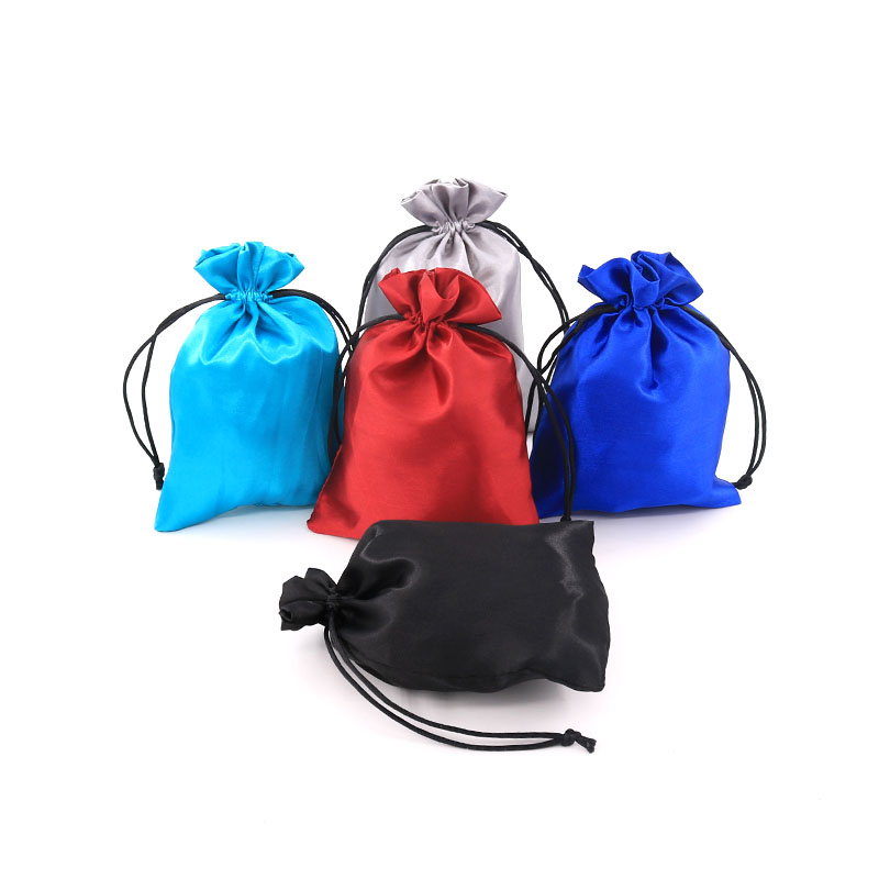 Satin Gift Bag 8x10cm 10pcs Jewelry Pouch Cosmetic Party Bead Packing Candy Silk Drawstring Bag Cloth Sachet Pocket Sack