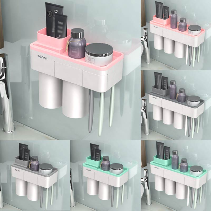Solid Inverted Cup Wall Mount Magnetic Adsorption Toothbrush Holder Bathroom Cleanser Storage Rack Green Pink Gray 1Set image