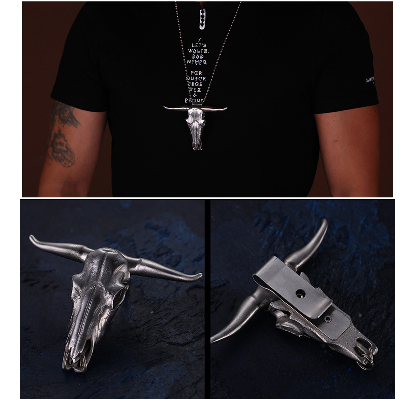 Outdoor EDC Stainless Steel Bull Head Multi-function Tool Pocket Tool Keychain Necklace Pendant Defensive Window Breaker