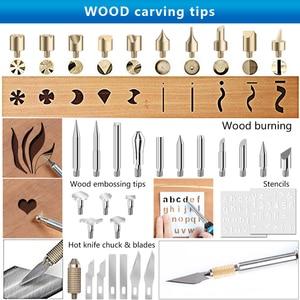 Image 4 - 220 В/110 В 60 Вт регулируемый паяльник в комплекте, пирографический набор для резьбы по дереву, сварочные наконечники, инструменты для тиснения по дереву