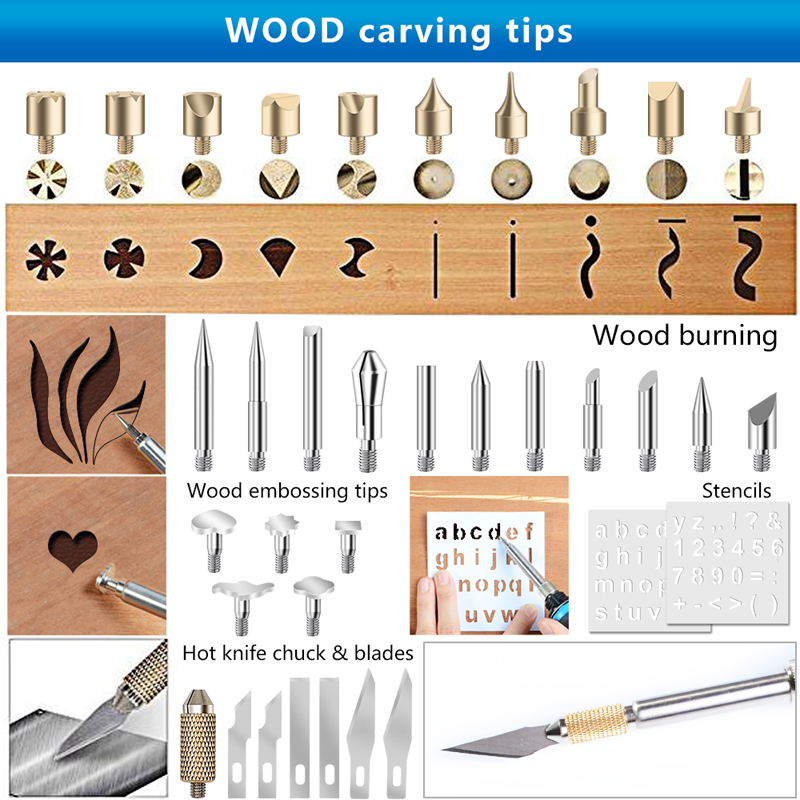 Image 4 - 220V / 110V 60W Adjustable Soldering Iron Kit Wood Burning Carving Pyrography Pen Set Welding Tips Wood Embossing Burning ToolsElectric Soldering Irons   - AliExpress