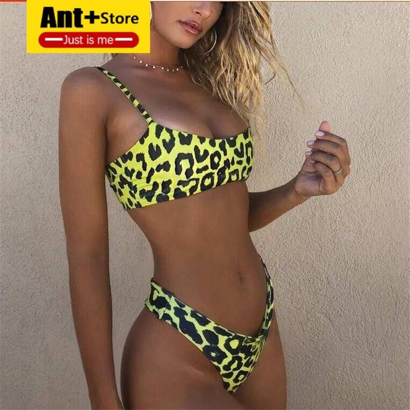 Summer Women's Flower Print Bikini Solid Sequins Sexy Bandage Leopard Swimwear High Help Swimsuit Brazil Beachwear