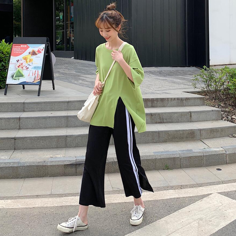 Casual Sports WOMEN'S Suit Fashion Summer Wear 2019 New Style Korean-style Green T-shirt Stripes Loose-Fit Loose Pants Two-Piece