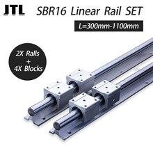 Rail de guidage linéaire SBR16, toutes longueurs + 4 pièces SBR16UU, bloc coulissant linéaire de 16mm, rails cnc