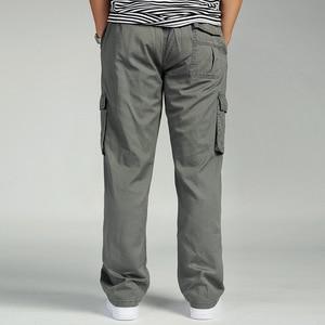Image 2 - Men Cargo Pants Man Overall Loose Working Trousers Military Army Green Plus Size 4XL 5XL 6XL Workman Khaki Long Baggy Pants