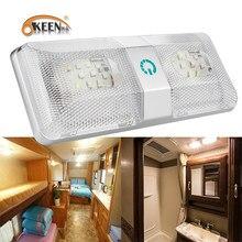 OKEEN-plafonnier rectangulaire, interrupteur tactile, éclairage d'intérieur, luminaire de plafond, éclairage marin, idéal pour une voiture, un Yacht ou une caravane, 12v, LED