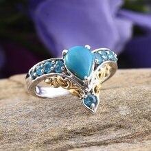 Модные голубые стразы в форме капли воды v образные кольца для