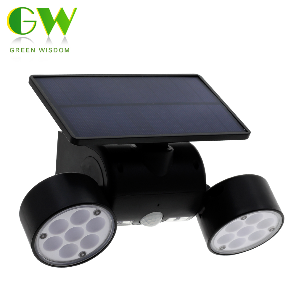 14/30 LEDs Outdoor Solar Light With PIR Motion Sensor Solar Powered Double Head Wall Lamp Energy Saving Street Lights For Garden
