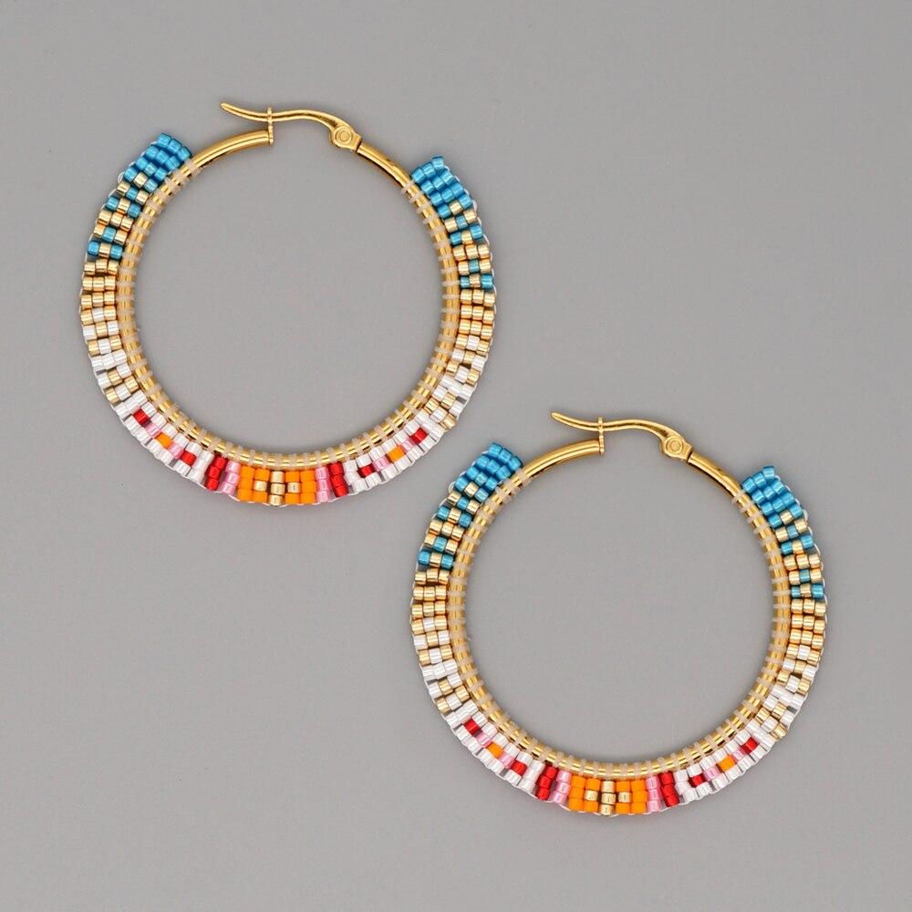 Go2boho Native Beaded Ear Ring Jewellery Hoop Earrings For Women Miyuki Stainless Steel Earring Jewelry 2021Bohemian Arete