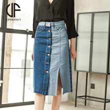 Spring and autumn denim skirt commuter style single-breasted denim skirt two-color stitching jeans skirt split skirt skirt tide destroyed fishnet insert fray trim denim skirt