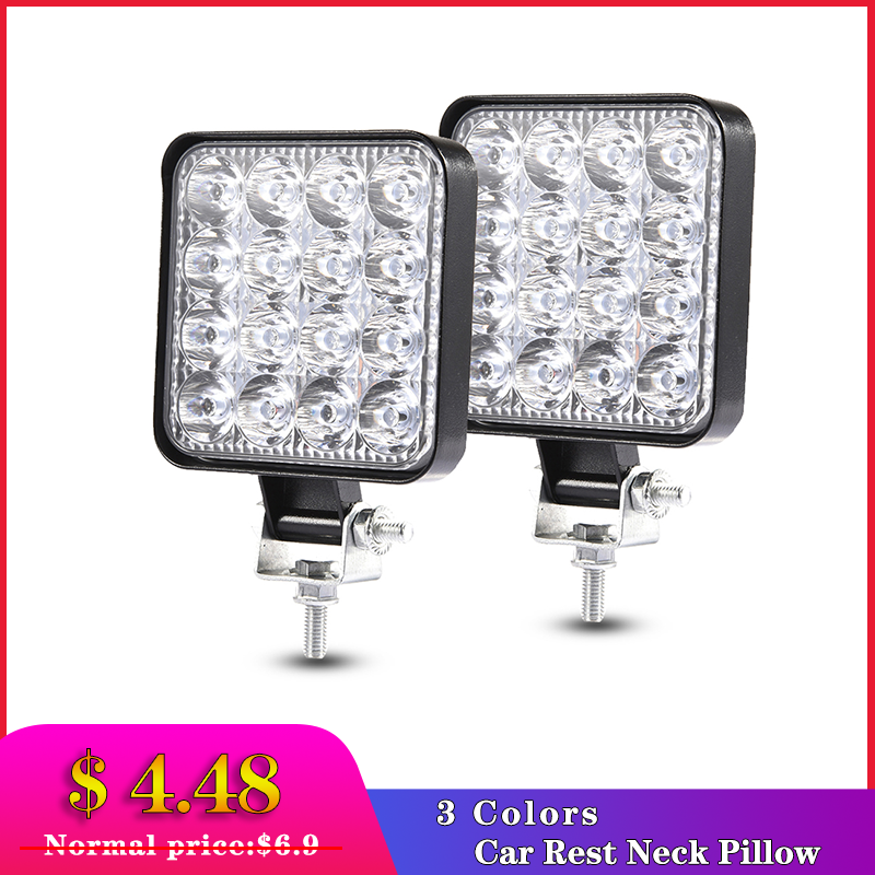 4PCS 48W Work Light 30 Degree LED Car Spot Light Beam Square Off-road Lamp Light Fog Lighting Exterior For Jeep Boat/SUV/Truck