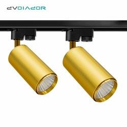 Złote lampki ozdobne możliwość przyciemniania COB Chip reflektor aluminiowy regulacja kąta reflektory 7W 10W 20W salon sypialnia Hall Rail Lamp w Oświetlenie toru od Lampy i oświetlenie na