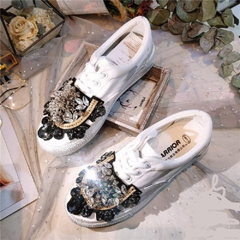 JELLYFOND Women Canvas Shoes Lace-Up Low High Top Sneakers basket Femme crystal luxury white women shoes