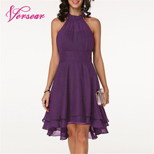 Versear Women Elegant Chiffon Dress Solid Cutout Back Sleeveless Layered Asymmetric Pleated Party Dresses Summer New Midi