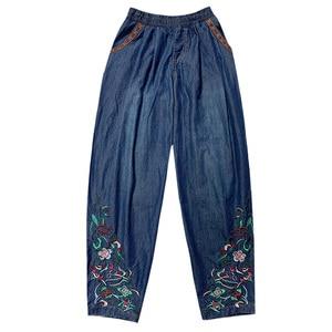 Image 2 - Etnico dei jeans 2020 delle donne di autunno della molla della boemia hippie originale lungo del ricamo del denim pantaloni larghi del piedino dei pantaloni della mutanda di abbigliamento Cinese