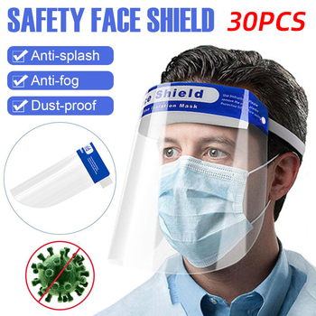 30PCS Visor Shield Droplet Face Shield Washable Transparent Anti Droplet Dust-proof Full Face Cover Mouth Mask Protective