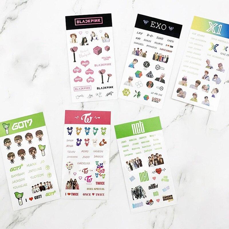 Kpop X1 BLACKPINK EXO TWICE NCT Fans DIY Stationery Sticker Scrapbooking Waterproof Transparent Stickers Decoration Stickers