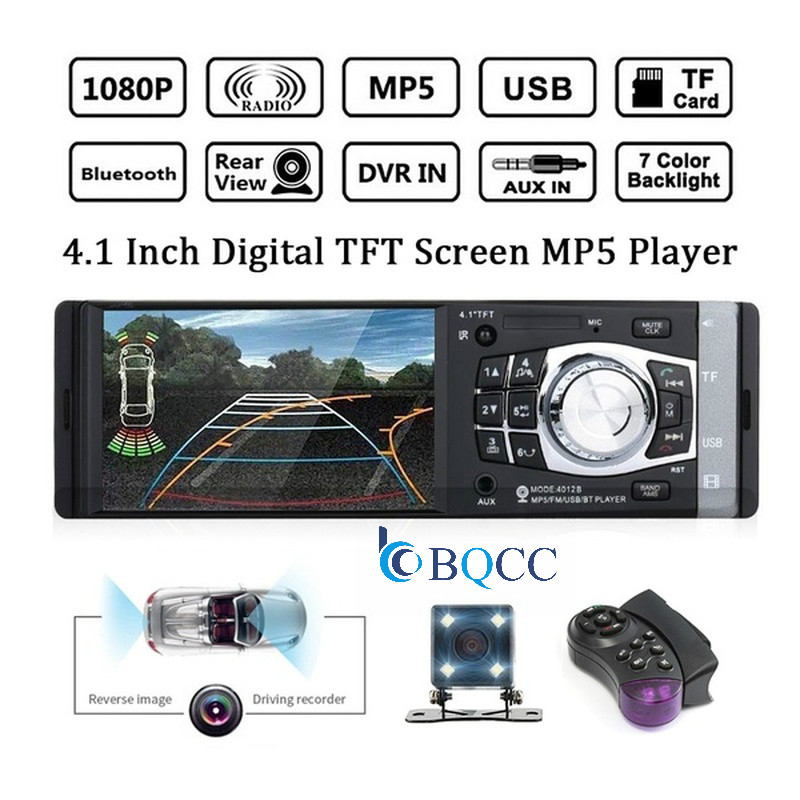 4.1 inch HD 1 Din Auto Car Radio Player MP3 MP5 Audio Stereo Bluetooth FM Remote Control With Rear View Camera image