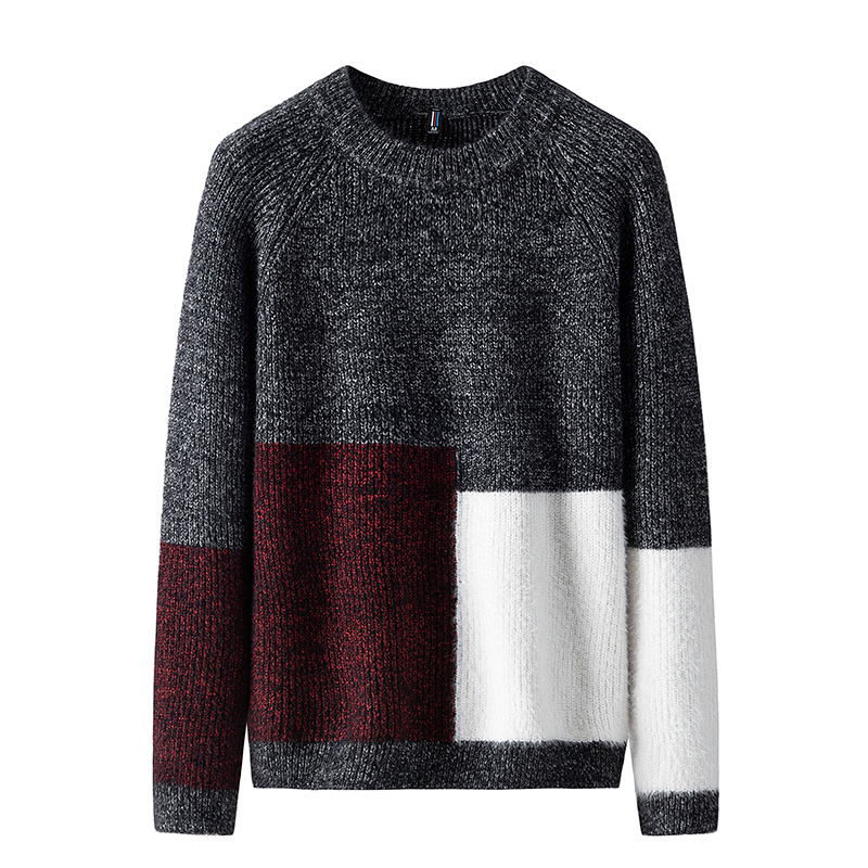 Sweater Men Casual O-Neck Men's Pullover Autumn Winter Sweater Men Patchwork Men's Knitted Sweater Christmas Pullover Men