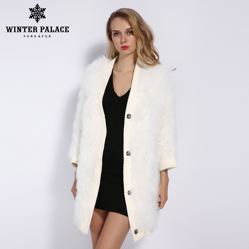 WINTER PALACE 2019 Women's New Wool Coat Autumn And Winter Long Knit Fur Coat Fashion Real Wool Keep Warm Multiple Colour