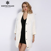 WINTER PALACE 2019 Women's New Wool Coat Autumn And Winter Long Knit Fur Coat Fashion Real Wool Keep Warm Multiple Colour(China)