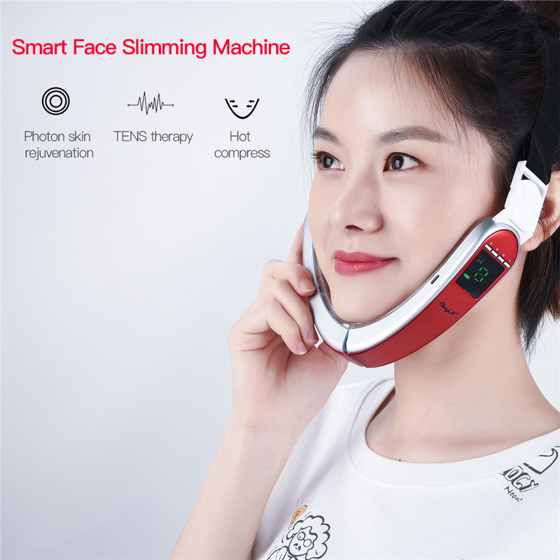 Infrared Hot Compress V-Shape Slimming Facial Massager Electric Vibration LED Photon Therapy Face Lifting Contour Beauty Machine