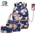 Женский школьный рюкзак для девочек 3 шт./компл. USB зарядное устройство водонепроницаемый рюкзак Famle школьные сумки для подростков девочек с...