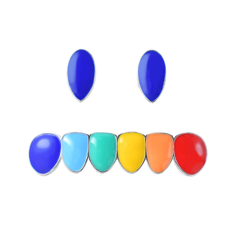 Hip Hop Colorful Teeth Sets Top Bottom Tooth Cosplay Party Rapper Teeth Grillz Body Jewelry