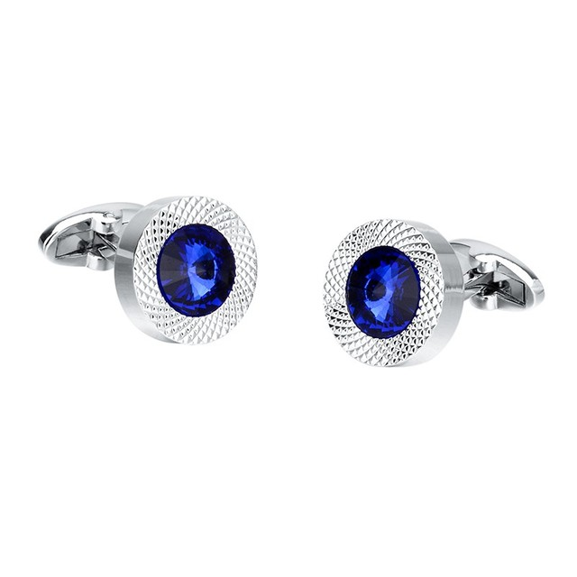 Blue Crystal Cone Cufflinks Men Classic Brand Blue Prismatic Cuff Button Designer High Quality Men's Shirt Taper Cuff Links 5