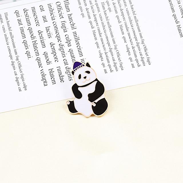 Mignon dessin animé chinois Panda émail broches créatif animaux broche Pandas porter chapeau tissu collier broches Badges Collection Kawaii bijoux