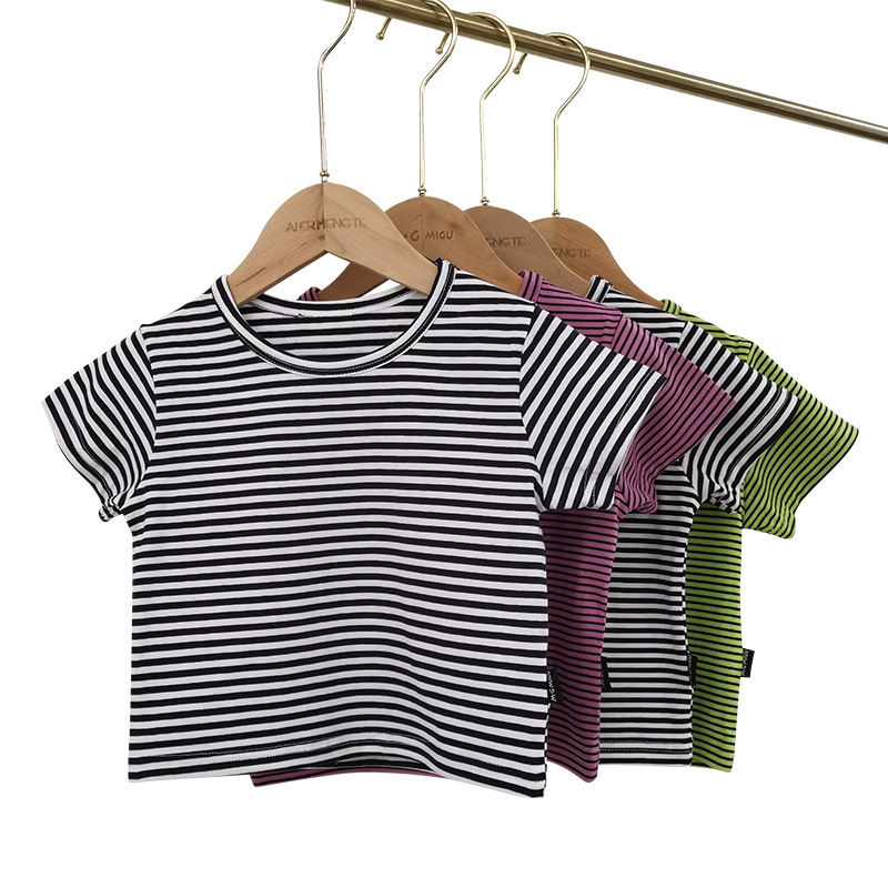 Baby Boys Girls Cotton Striped Tops Summer Short Sleeved T-<font><b>shirts</b></font> Toddler Girls Children Clothing T <font><b>Shirt</b></font> Size 1 <font><b>2</b></font> 3 4 5 Year image