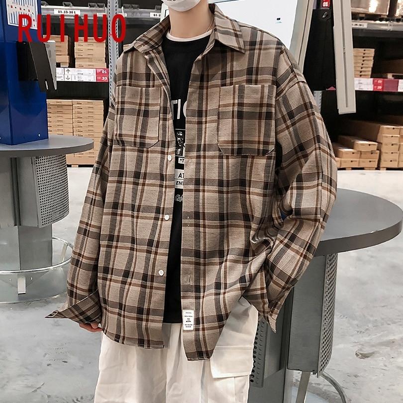 RUIHUO мужские рубашки в клетку для мужчин одежда в Корейском стиле, Стиль мужские рубашки с длинным рукавом, рубашка в клетку, одежда в Корейск...