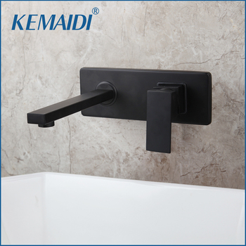 KEMAIDI Golden Bathroom Faucet Wall Mounted Hot& Cold Water Mixer Matt Black Brass Basin Mixer Concealed Mixer Crane  3 Color