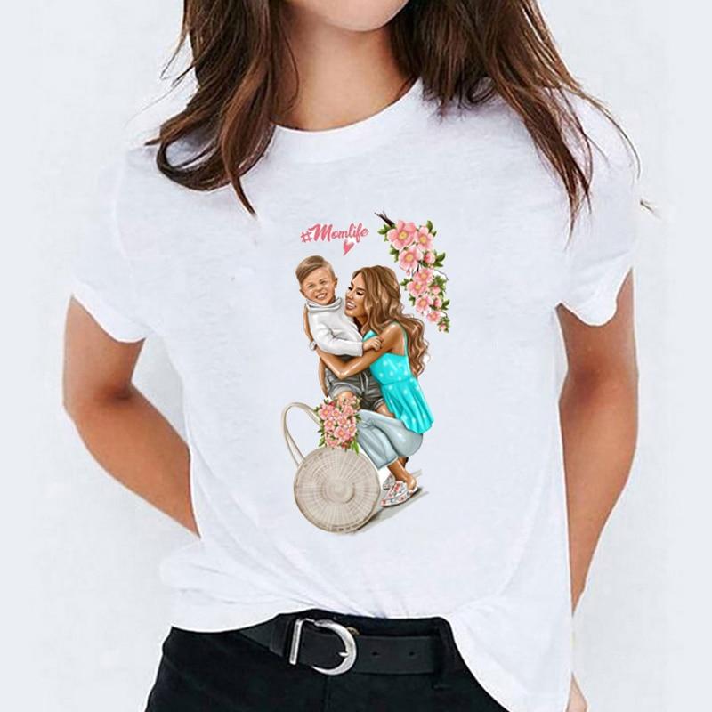 Women Cartoon Mom Boy Momlife Mommy Mother Lady Womens T-Shirt Tops Graphic Tees Print Female Camisas T Shirt T-shirts