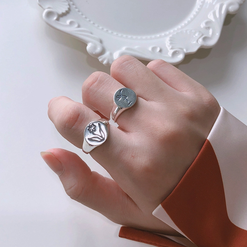 Silvology Human Face Flower Rings 925 Sterling Silver Round Sculpture Korea Creative Rings For Women Elegant Festival Jewelry