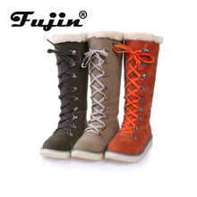 Fujin 2019 New Warm Snow Boots with Suede Casual Winter Large Size Women Ladies Fashion Square Heel Long Boot