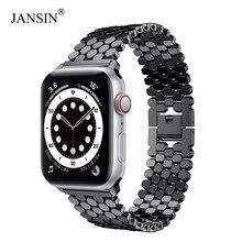 JANSIN bracelet à maillons pour apple watch, en acier inoxydable, 42mm/38mm/40/44mm SE, pour bracelets iwatch série 6 5 4 3