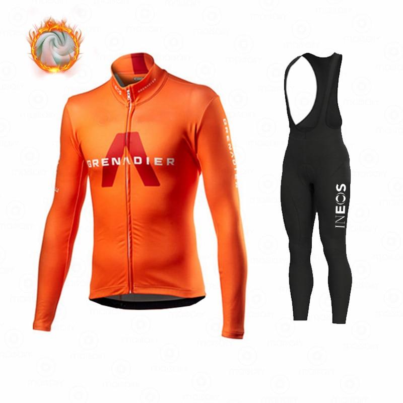 tenue velo Ineos – vêtements de cyclisme en molleton thermique pour homme, tenue de Sport, d'équitation, vtt, collection hiver 2021