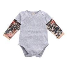 Осенняя одежда для новорожденных; боди с длинными рукавами для маленьких мальчиков; Однотонный повседневный комбинезон с принтом татуировки; модные комбинезоны для малышей