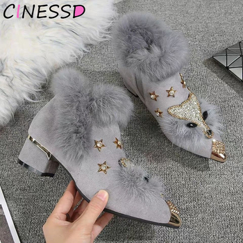 Winter Boots Womens Pointed Metal Ankle Crystal Fox Pattern Women Toe Glitter Fur Moccasins Bottes Femme