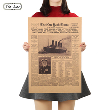 1 Pcs Classic The New York Times History Poster Titanic Shipwreck Old Newspaper Retro Kraft Paper Home Decoration between home декоративная подушка new york times beige