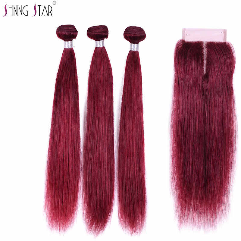 Shining Star Colored 99J Indian Straight Human Hair Weave Burgundy Bundles With Closure 3 Red Non Remy Hair Bundles With Closure