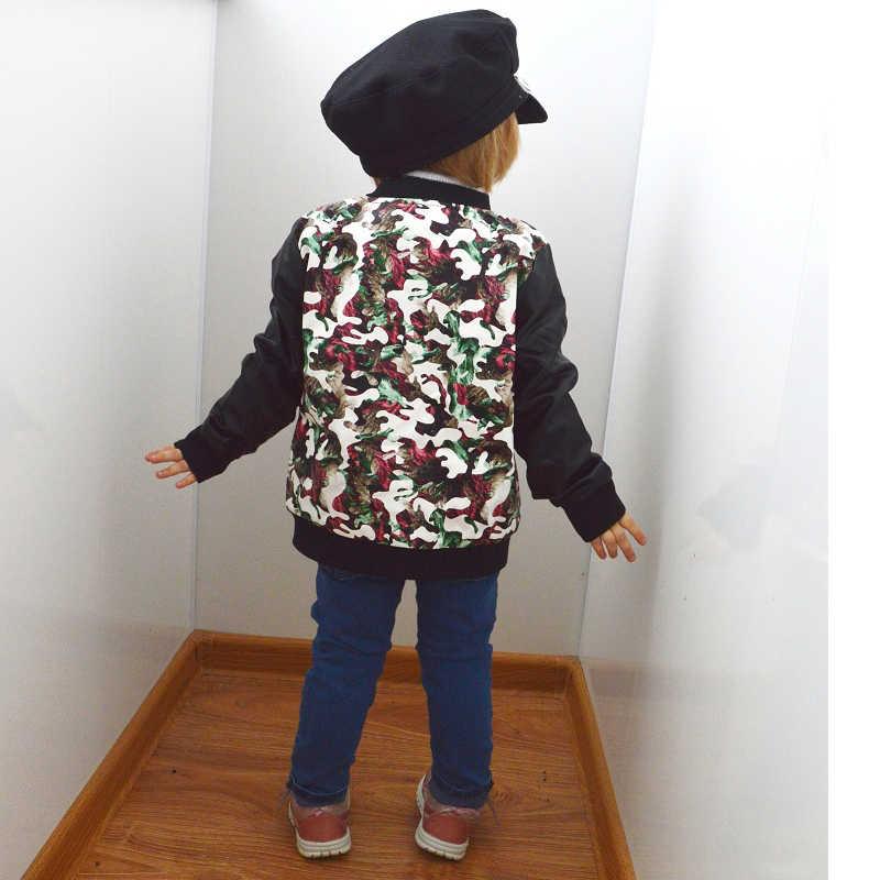 Moda das crianças jaqueta do plutônio 3-9 anos de idade menina em torno do pescoço impressão flores camuflagem artificialmotocicleta casaco de couro